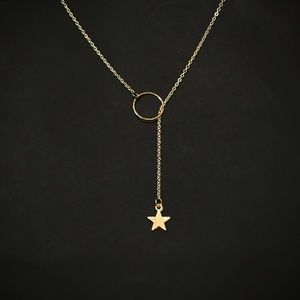 Jewelry - Dainty Gold Star Circle Lariat Necklace